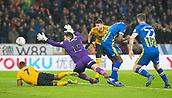 5th February 2019, Molineux Stadium, Wolverhampton, England; FA Cup football, 4th round replay, Wolverhampton Wanderers versus Shrewsbury Town; Matt Doherty of Wolverhampton Wanderers heading the loose ball past Shrewsbury Town Goalkeeper Steve Arnold to score in the 51st minute of the first half 2-2