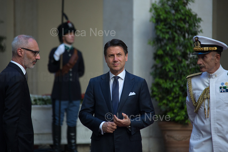 (From R to L) Admiral Sq. Carlo Massagli (Military Advisor to the Prime Minister and Head of the Secretariat Office) and Giuseppe Conte (Italian Prime Minister).<br /> <br /> Rome, 04/07/2019. Today, the four-time President of the Russian Federation, Vladimir Putin, visited Palazzo Chigi (Official Residence of the Italian Prime Minister and official meeting place of the Council of the Ministers) where he had a private meeting and a press conference with the Italian Prime Minister, Giuseppe Conte. During his visit to Italy, President Putin met Pope Francis, the President of the Italian Republic, Sergio Mattarella, and his old friend and Italian politician, Silvio Berlusconi.   <br /> <br /> Footnotes and Links:<br /> For a Video of the Press Conference please click here (Source, Palazzo Chigi on Youtube): https://youtu.be/4Bdssi0L9PI