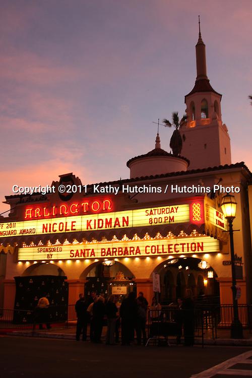 LOS ANGELES - FEB 5:  Marquee at theater for Nicole Kidman arrives at the 2011 Vanguard Award Event honoring Nicole Kidman at the Santa Barbara International Film Festival at Arlington Theater on February 5, 2011 in Santa Barbara, CA