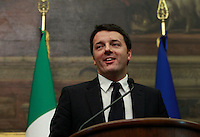 Il presidente del consiglio incaricato Matteo Renzi incontra la stampa dopo le consultazioni coi leader politici alla Camera dei Deputati, Roma, 19 febbraio 2014.<br /> Italian Democratic Party's leader Matteo Renzi meets the press after his talks with political leaders on the formation of a new government, at the Lower Chamber, Rome, 19 February 2014.<br /> UPDATE IMAGES PRESS/Isabella Bonotto