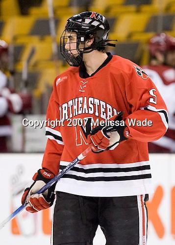 Louis Liotti (NU - 5) - The Northeastern University Huskies defeated the Harvard University Crimson 3-1 in the Beanpot consolation game on Monday, February 12, 2007, at TD Banknorth Garden in Boston, Massachusetts.