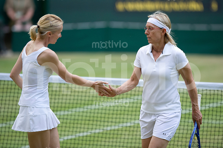 Martina Navratilova (USA) and Jana Novotna (CZE) play against Ilana Kloss (RSA) and Rosalyn Nideffer (USA) on Centre Court. The Wimbledon Championships 2010 The All England Lawn Tennis & Croquet Club  Day 11 Friday 02/07/2010