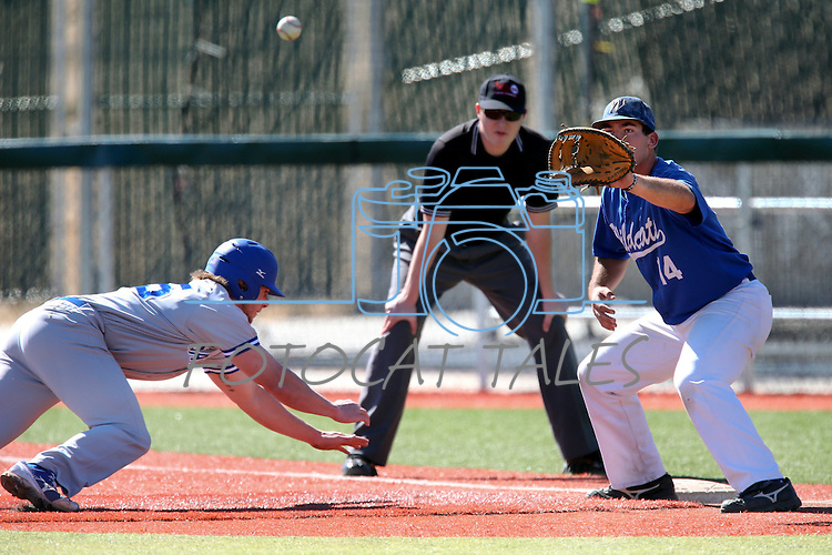 Salt Lake Community College's Bryan Heward dives safely back to first under the tag of Western Nevada's Connor Klein during a college baseball game in Carson City, Nev., on Friday, March 1, 2013. SLCC won the first game 3-2..Photo by Cathleen Allison/Nevada Photo Source