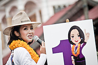 "YOLLANDA ""NOK"" SUANYOT speechs to the voters at the town streets as she runs the last day of the official political campaign for elections in northern Nan province, Thailand. Known formerly as a beauty queen, is running today a political campaign for the local rule of Nan city. 30-year-old Yollada Suanyot, who was born a male, has become the first transgender to register as an election candidate. The upcoming elections will be held on May 27th in 24 constituencies in 15 districts. In accord with the Thai media this is the first time in Thailand that a transgender is taking part in a provincial election.s"
