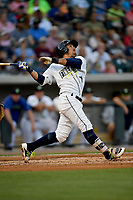 Third baseman Jay Jabs (7) of the Columbia Fireflies bats in a game against the Lexington Legends on Saturday, April 22, 2017, at Spirit Communications Park in Columbia, South Carolina. Lexington won, 4-0. (Tom Priddy/Four Seam Images)