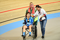 Picture by SWpix.com - 02/03/2018 - Cycling - 2018 UCI Track Cycling World Championships, Day 3 - Omnisport, Apeldoorn, Netherlands - Woman's Omnium Scratch Race - Xiaojuan Diao of Hong Kong taken off the track in a wheelchair
