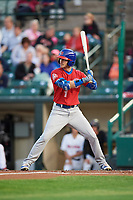 Buffalo Bisons center fielder Ian Parmley (1) at bat during a game against the Rochester Red Wings on August 25, 2017 at Frontier Field in Rochester, New York.  Buffalo defeated Rochester 2-1 in eleven innings.  (Mike Janes/Four Seam Images)