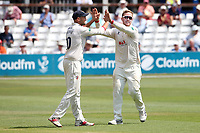 Simon Harmer of Essex celebrates with his team mates after taking the wicket of Adam Hose during Essex CCC vs Warwickshire CCC, Specsavers County Championship Division 1 Cricket at The Cloudfm County Ground on 16th July 2019