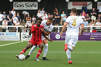 Timmy Abraham of Fulham shields the ball from Bromley's Jack Holland during Bromley vs Fulham, Friendly Match Football at the H2T Group Stadium on 6th July 2019