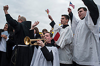 Vatican City, Vatican, February 22, 2017. Members of the choir of St. Anthony's High School, attend the weekly general audience in St. Peter Square at the Vatican.