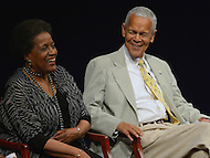 Washington, DC - June 5, 2013: Civil rights activist Julian Bond and Mrylie Evers share a laugh during a panel discussion at the Newseum on the 50th anniversary of the assassination of civil rights activist Medgar Evers, June 5, 2013. The discussion was moderated by Gwen Ifill. (Photo by Don Baxter/Media Images International)