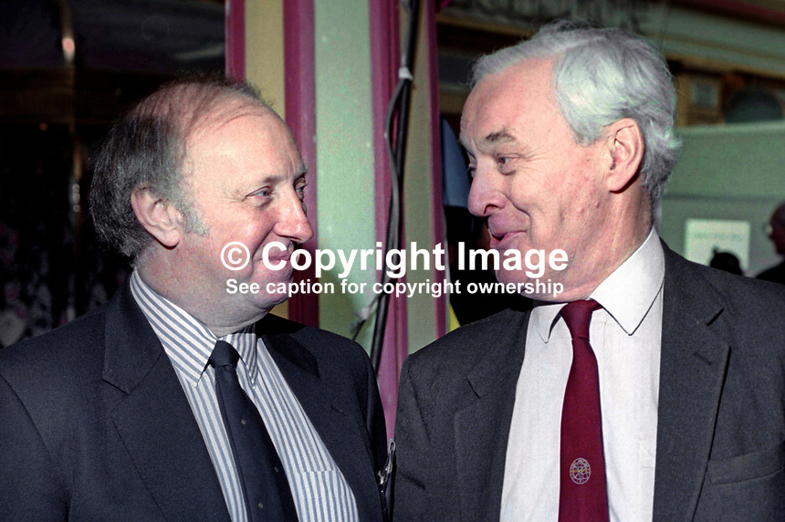 Arthur Scargill, president, National Union of Mineworkers, left, and veteran Labour politician, Tony Benn, face to face at annual conference, Labour Party, UK, September 1994, 19940930AS8<br />