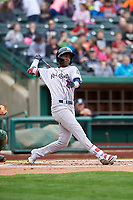 Kane County Cougars Geraldo Perdomo (4) at bat during a Midwest League game against the Fort Wayne TinCaps at Parkview Field on May 1, 2019 in Fort Wayne, Indiana. Fort Wayne defeated Kane County 10-4. (Zachary Lucy/Four Seam Images)
