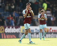 Burnley's Jack Cork applauds the fans at the final whistle<br /> <br /> Photographer Rich Linley/CameraSport<br /> <br /> The Premier League - Burnley v Leicester City - Saturday 14th April 2018 - Turf Moor - Burnley<br /> <br /> World Copyright &copy; 2018 CameraSport. All rights reserved. 43 Linden Ave. Countesthorpe. Leicester. England. LE8 5PG - Tel: +44 (0) 116 277 4147 - admin@camerasport.com - www.camerasport.com