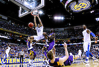 Kentucky Wildcats forward Anthony Davis (23) dunks the ball on the LSU Tigers during the second round of the SEC men's NCAA basketball tournament in New Orleans, Louisiana March 9, 2012.