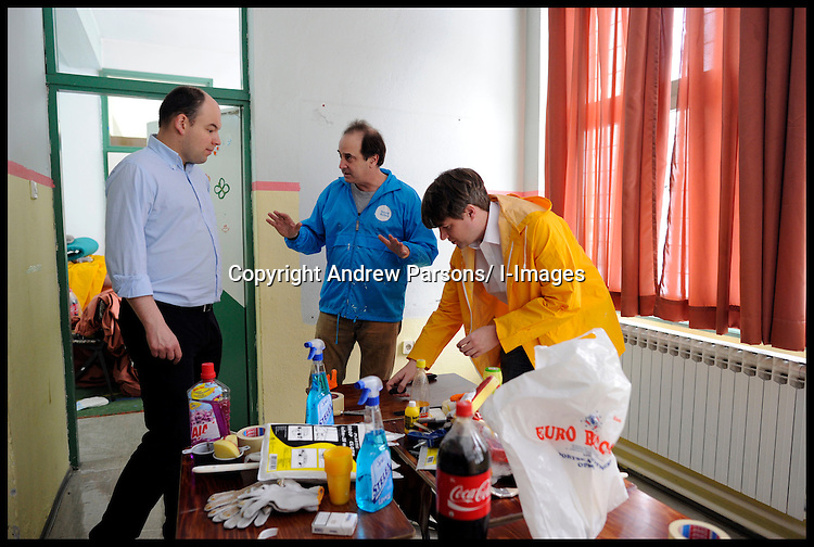 Members of the Conservative Party carry out work on Valadimir Nazor centre in Sarajevo, Bosnia, as part of Project Maja in Bosnia and Herzegovina, Saturday March 3, 2012 . Photo By Andrew Parsons/i-images