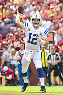 Landover, MD - September 16, 2018: Indianapolis Colts quarterback Andrew Luck (12) throws a pass during the  game between Indianapolis Colts and Washington Redskins at FedEx Field in Landover, MD.   (Photo by Elliott Brown/Media Images International)