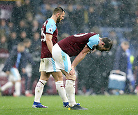 Burnley's Ashley Barnes and Phillip Bardsley look dejected at the final whistle <br /> <br /> Photographer Rich Linley/CameraSport<br /> <br /> The Premier League - Burnley v Leicester City - Saturday 16th March 2019 - Turf Moor - Burnley<br /> <br /> World Copyright © 2019 CameraSport. All rights reserved. 43 Linden Ave. Countesthorpe. Leicester. England. LE8 5PG - Tel: +44 (0) 116 277 4147 - admin@camerasport.com - www.camerasport.com