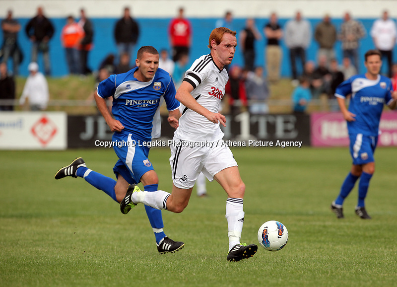 Pictured:  Shaun McDonald of Swansea (FRONT). Saturday 17 July 2011<br /> Re: Pre season friendly, Port Talbot Football Club v Swansea City FC at the GenQuip ground, Port Talbot, south Wales.