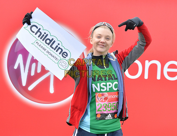 LONDON, ENGLAND - APRIL 24   Natalie Dormer at the start of the 2016 Virgin Money London Marathon on Blackheath in London, England. 24th April 2016.<br /> CAP/JWP<br /> &copy;JWP/Capital Pictures
