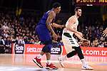 Turkish Airlines Euroleague 2018/2019. <br /> Regular Season-Round 18.<br /> FC Barcelona Lassa vs Panathinaikos Opap Athens: 79-68.<br /> Kevin Seraphin vs Georgios Papagiannis.