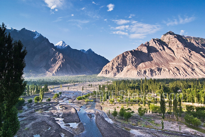 A river flowing through the mountain valley of Skardu with poplar trees surrounded by the Karakoram Himalaya mountains of Pakistan