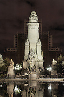 Cervantes monument in the Plaza de Espana, Madrid, Spain