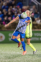 Allston, MA - Sunday, April 24, 2016: Boston Breakers midfielder Kyah Simon (17) and Seattle Reign FC defender Rachel Corsie (4). The Boston Breakers play Seattle Reign during a regular season NSWL match at Harvard University.