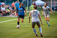 Kansas City, MO - Saturday July 22, 2017: Brittany Taylor, Ashley Hatch during a regular season National Women's Soccer League (NWSL) match between FC Kansas City and the North Carolina Courage at Children's Mercy Victory Field.
