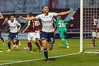 Dan Rowe of Wycombe Wanderers (18) celebrates scoring the opening goal during the The Checkatrade Trophy match between Northampton Town and Wycombe Wanderers at Sixfields Stadium, Northampton, England on 30 August 2016. Photo by David Horn / PRiME Media Images.