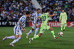 CD Leganes's Raul Garcia and FC Barcelona's Sergi Roberto during La Liga match between CD Leganes and FC Barcelona at Butarque Stadium in Madrid, Spain. September 26, 2018. (ALTERPHOTOS/A. Perez Meca)