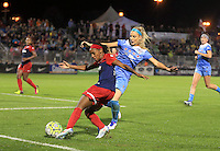 Boyds, MD - Friday Sept. 30, 2016: Crystal Dunn, Julie Johnston during a National Women's Soccer League (NWSL) semi-finals match between the Washington Spirit and the Chicago Red Stars at Maureen Hendricks Field, Maryland SoccerPlex. The Washington Spirit won 2-1 in overtime.