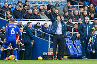 Sunderland manager Chris Coleman appeals during the Sky Bet Championship match between Cardiff City and Sunderland at the Cardiff City Stadium, Cardiff, Wales on 13 January 2018. Photo by Mark  Hawkins / PRiME Media Images.