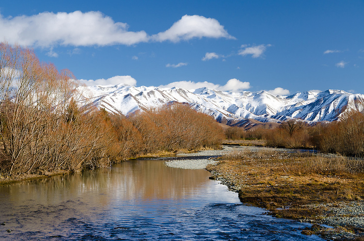 Snowy mountains reflected in the Twizel river. Sunny winter's day. South Island, New Zealand - stock photo, canvas, fine art print
