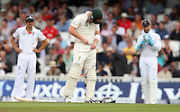 Brad Haddin of Australia takes a painful one from Chris Woakes and checks the damage - England vs Australia - 2nd day of the 5th Investec Ashes Test match at The Kia Oval, London - 22/08/13 - MANDATORY CREDIT: Rob Newell/TGSPHOTO - Self billing applies where appropriate - 0845 094 6026 - contact@tgsphoto.co.uk - NO UNPAID USE