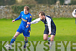 Mainebank FC's James Long gets away from Athletico Ardfert's Chris Wallace at Mounthawk park, Tralee on Sunday.
