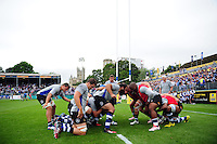 The Bath Rugby forwards practise their scrummaging during the pre-match warm-up. Aviva Premiership match, between Bath Rugby and Newcastle Falcons on September 10, 2016 at the Recreation Ground in Bath, England. Photo by: Patrick Khachfe / Onside Images