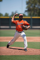 San Francisco Giants Orange relief pitcher Luis Moreno (41) delivers a pitch during an Extended Spring Training game against the Seattle Mariners at the San Francisco Giants Training Complex on May 28, 2018 in Scottsdale, Arizona. (Zachary Lucy/Four Seam Images)