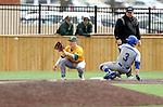 SIOUX FALLS, SD: Gus Steiger #3 from South Dakota State University slides in safely to third as Matt Elsenpeter #2 from North Dakota State University waits for the ball Thursday in Sioux Falls. (Dave Eggen/Inertia)