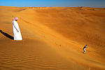 Sandboarding in Wahiba Sands, Oman, Middle East