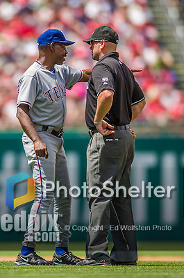 1 June 2014: Texas Rangers Manager Ron Washington discusses a call during a game against the Washington Nationals at Nationals Park in Washington, DC. The Rangers shut out the Nationals 2-0 to salvage the third the third game of their 3-game inter-league series. Mandatory Credit: Ed Wolfstein Photo *** RAW (NEF) Image File Available ***