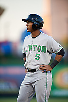 Clinton LumberKings right fielder Anthony Jimenez (5) during a game against the South Bend Cubs on May 5, 2017 at Four Winds Field in South Bend, Indiana.  South Bend defeated Clinton 7-6 in nineteen innings.  (Mike Janes/Four Seam Images)