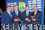 Kerry Captains Fionn Fitzgerald and Kieran O'Leary receive their All Ireland medals from GAA President Liam O'Neill and Countyy Board Chairman Patrick O'Sullivan at the Kerry teams All Ireland Medal banquet in the INEC on Friday night