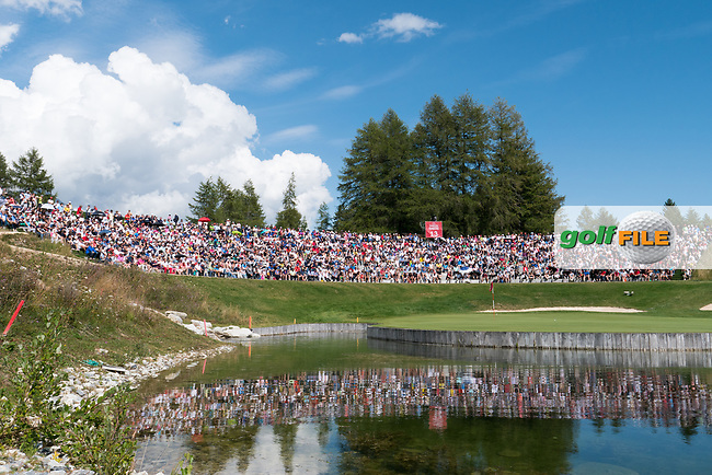 Spectators on the 13th hole during final round at the Omega European Masters, Golf Club Crans-sur-Sierre, Crans-Montana, Valais, Switzerland. 01/09/19.<br /> Picture Stefano DiMaria / Golffile.ie<br /> <br /> All photo usage must carry mandatory copyright credit (© Golffile | Stefano DiMaria)