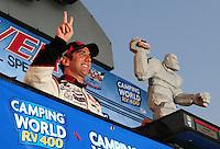 Sept. 21, 2008; Dover, DE, USA; Nascar Sprint Cup Series driver Greg Biffle in victory lane after winning the Camping World RV 400 at Dover International Speedway. Mandatory Credit: Mark J. Rebilas-