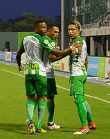 BARRANCABERMEJA - COLOMBIA, 03-03-2018:  Dayro Moreno (Der) jugador de Atletico Nacional celebra después de anotar un gol a Alianza Petrolera durante partido fecha 6 de la Liga Águila I 2018 disputado en el estadio Daniel Villa Zapata de la ciudad de Barrancabermeja. / Dayro Moreno (R) player of Atletico Nacional celebrates after scoring a goal to Alianza Petrolera during match for the date 6 of the Aguila League I 2018 played at Daniel Villa Zapata stadium in Barrancebermeja city. Photo: VizzorImage / Jose Martinez / Cont