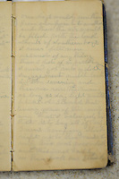 NWA Media/Spencer Tirey - A page from a diary that describes the battle at Pea Ridge during the civil war is shown Monday, Dec. 8, 2104 at the National Military Park. The diary was recently donated to the park.