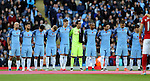 Manchester City players line up for a remembrance day event during the Premier League match at the Etihad Stadium, Manchester. Picture date: November 5th, 2016. Pic Simon Bellis/Sportimage