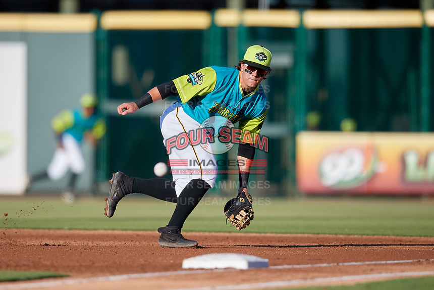Bradenton Barbanegras first baseman Mason Martin (47) fields a ground ball during a Florida State League game against the St. Lucie Mets on July 27, 2019 at LECOM Park in Bradenton, Florida.  Bradenton defeated St. Lucie 3-2.  (Mike Janes/Four Seam Images)