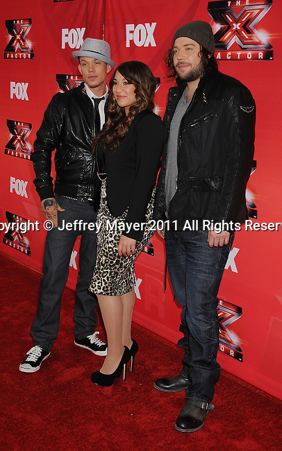 LOS ANGELES, CA - DECEMBER 19: Chris Rene, Melanie Amaro and Josh Krajcik attend 'The X Factor' press conference at CBS Televison City on December 19, 2011 in Los Angeles, California.